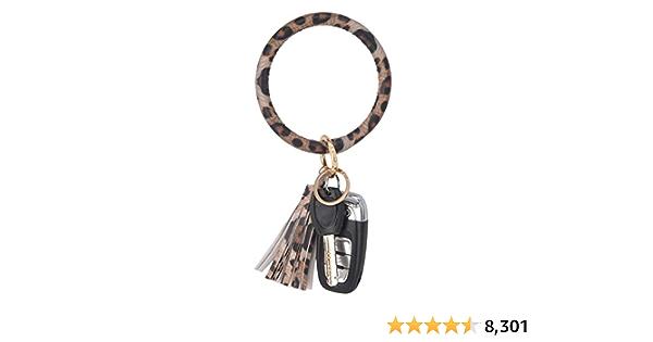 Coolcos Key Ring Bracelets Wristlet Keychain Bangle Keyring - Large Circle  Leather Tassel Bracelet Holder For Women Gift (A Leopard) at Amazon Women's  Clothing store