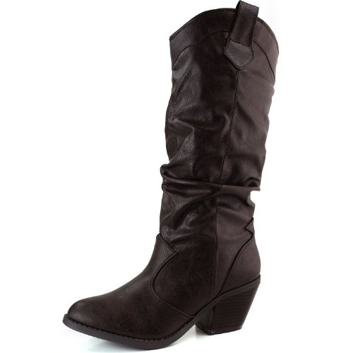 Womens Brown Western Slouchy Knee High Rodeo Cowgirl Cowboy Boot Qupid Muse-01