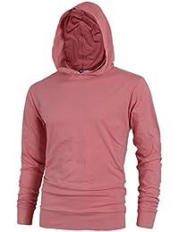 bd7561728f93 Mens Lightweight Cotton Pullover Long Sleeve Hoodie Sweatshirt