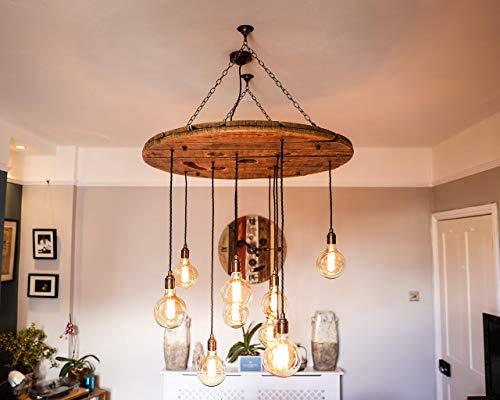 Reclaimed Cable Reel Drum Chandelier Bespoke Designs Handmade in Devon, England