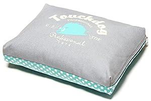 B00WFVN32Y7HP Touchdog Polka-Striped Polo Easy Wash Rectangular Fashion Dog Bed, Teal, Grey, MD