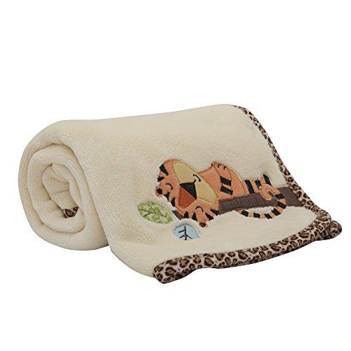 - Lambs & Ivy Treetop Buddies Tiger Blanket, Brown/Cream