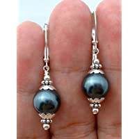 Jaywine2 12mm Tahitian Black Peacock Sea Shell Pearl Sterling Silver Leverback Earrings