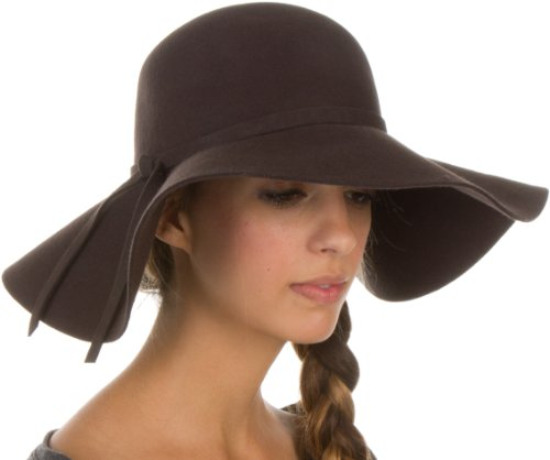 EH01EH - Sakkas Womens 100% Wool Wide Brim Foldable Floppy Hat - Brown/One Size (Sizes Womens Hat)