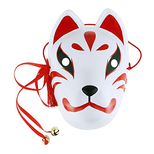 YiZYiF Fox Face Mask Hand Painted Japanese Masquerade Masks Cosplay Accessories with Tassels and Small Bells for Halloween Festival Costume Kabuki Kitsune Party Show Red One Size