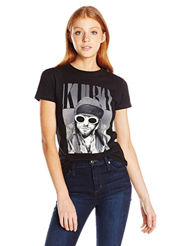 FEA Women's Cobain Kurt in Sun Glasses Juniors Soft Tee, Black, - Cobain Kurt Glasses Amazon
