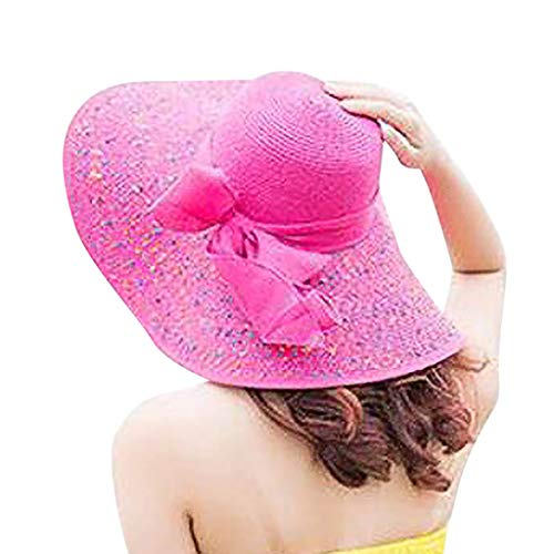 Display Case Flag Trooper (YQZB Women Beach Hat Large Brim Stripe Floppy Foldable Roll up Sun Hats Casual UV Protection Holiday Visor Cap Hot Pink)