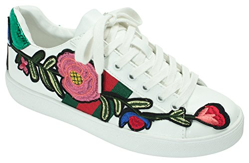 AnnaKastle Womens Floral Embroidered Low-Top Sneakers ,White ,US 8,B(M)