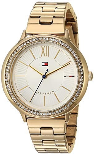 (Tommy Hilfiger Women's Quartz Watch with Gold-Tone-Stainless-Steel Strap, 14 (Model: 1781856))