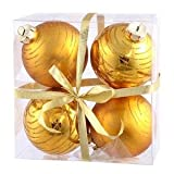 Vickerman Glitter Ball Assorted Ornaments, 3-Inch, Antique Gold, 4-Pack