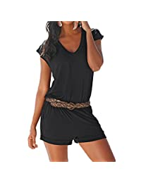 SUNNOW Women' s V Neck Casual Cotton Short Jumpsuit Playsuit and One Pieces