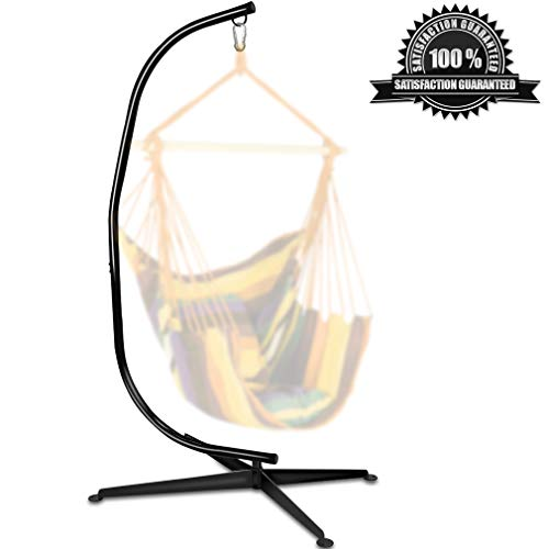 Dkeli Hammock Stand, Hanging Hammock Chair Stand C Stand Outdoor Indoor Solid Steel Heavy Duty Stand Only Construction for Hanging Hammock Air Porch Swing Chair, 330Lbs Capacity