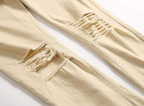 Jeans Strappati Da Stretch Vita Retrò Buchi Elasticizzato Media A Con Casual Denim Khaki Uomo Pantaloni In Especial Moda Alla Estilo zzqrS
