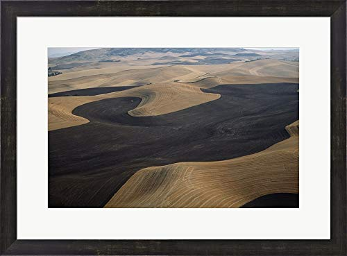 Aerial View of a Cultivated Landscape, Washington State, USA Framed Art Print Wall Picture, Espresso Brown Frame, 26 x 19 inches ()