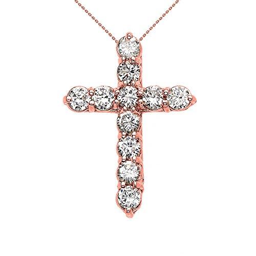 Collier Femme Pendentif Élégant 10 Ct Or Rose 2.5 Carat Rond Oxyde De Zirconium (Petit) Croix (Livré avec une 45cm Chaîne)