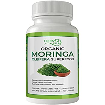 Organic Moringa Oleifera 800 mg Capsules - 120 ct | Supports Weight Loss & Boosts Energy | Aids Lactation in Breastfeeding Mothers | Joint Support | Powerful Antioxidant |