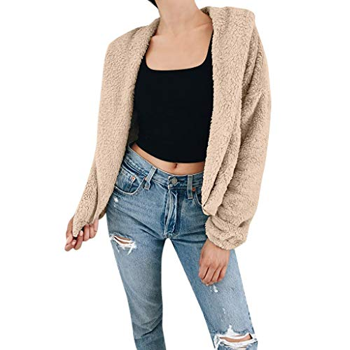 LIULIULIUWomen Coat Lapel Fleece Fuzzy Faux Zipper Light Weight Casual Oversized Outwear Jackets (S, Khaki)