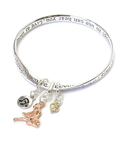 Dance Bangles Bracelets - Lola Bella Gifts Engraved Dance Love Sing Live Inspiration Bangle Bracelet with Message Card and Gift Box