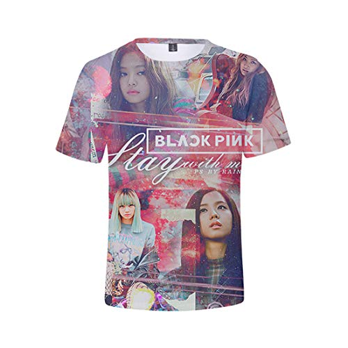 Kpop Blackpink T-Shirt mit 3D Drucken Jisoo Jennie Rose Lisa Jisoo T-Shirt für Damen Herren
