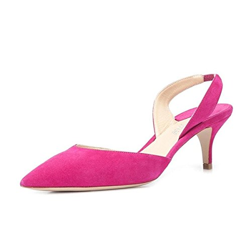 YDN Women's Formal Pointy Toe Low Heels Pumps Kitten Suede D'Orsay Sandals with Slingback Fuschia 7