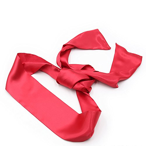 Satin Blindfold Soft Eye Mask Band Blinder Comfortable Costume Sleep Masks for Game Play Red