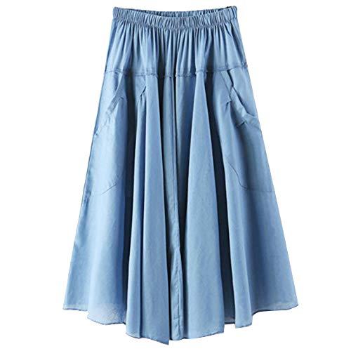 Longue Longueur Bleu Poches Haute Vintage Ciel Latrales Jupe Femme Taille Genou 5wx6nBOY