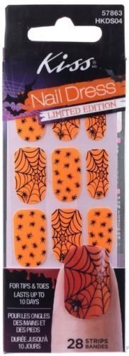 Halloween Nail Polish Strips - Kiss Nail Dress Orange Spider