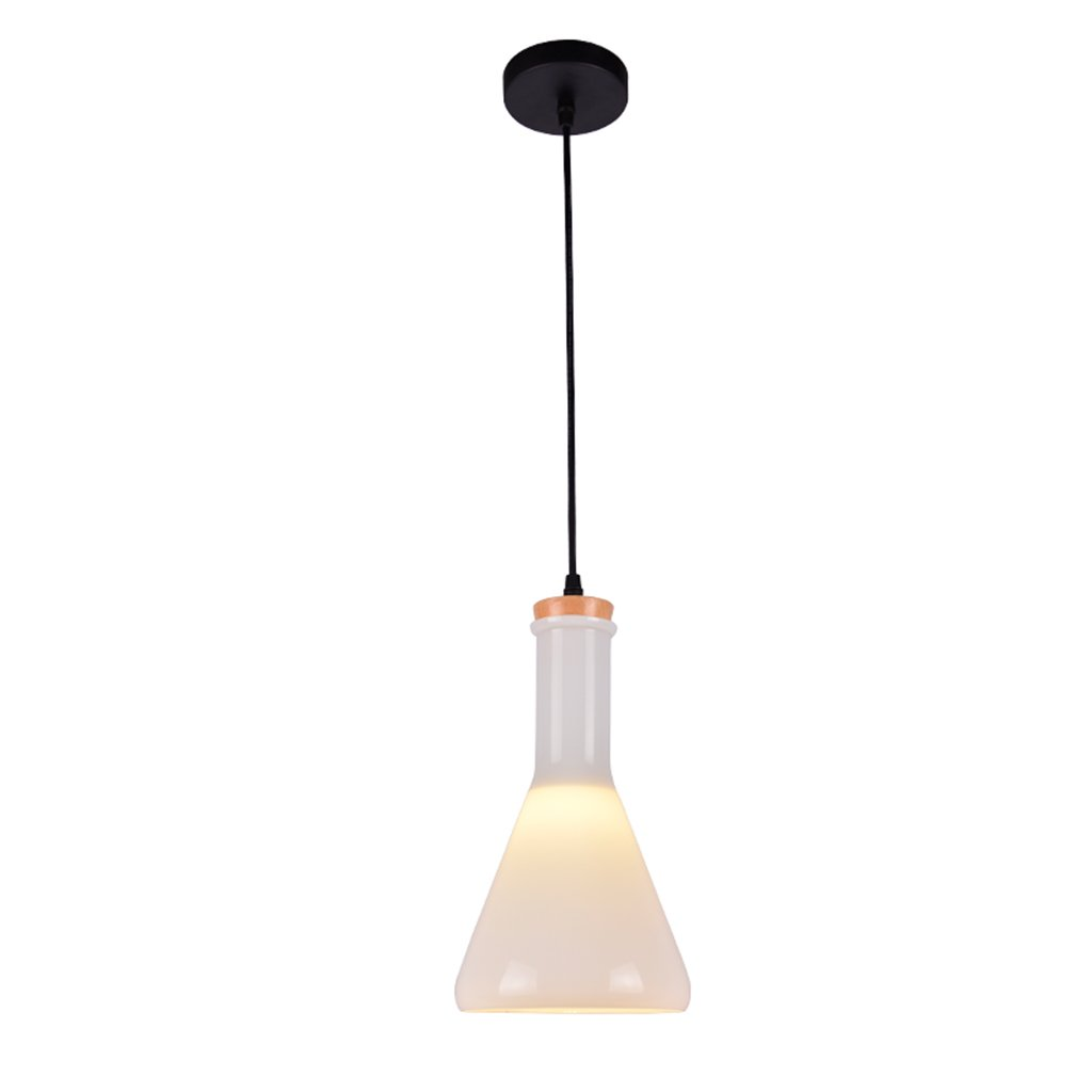 Lighting chandelier glass wrought iron wood E27 1 restaurant bar living room bedroom clubhouse white jar chandelier creative modern idea Nordic A+ ( Size : B )