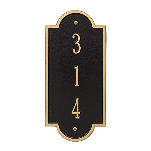 (Personalized Richmond Vertical Petite Wall Plaque (Black/Gold))