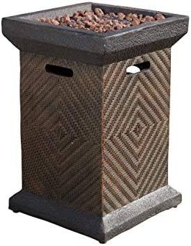Christopher Knight Home Mendocino MGO Fire Column – 40,000 BTU, 19.5 , Brown Wicker