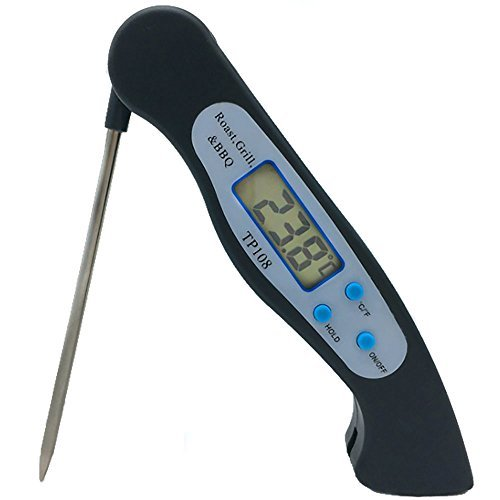 Instant Read Meat Thermometer, Digital meat Thermometer with Digital LCD, Fordable long probe for Food Christmas turkey, candy, cake, milk, bbq grill smokers