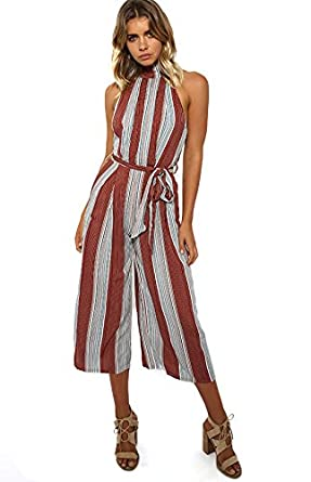 8486b20cc6e Amazon.com  OUMAL Women Summer Jumpsuits Halter Neck Striped Wide Leg  Backless Jumpsuits Rompers (XS