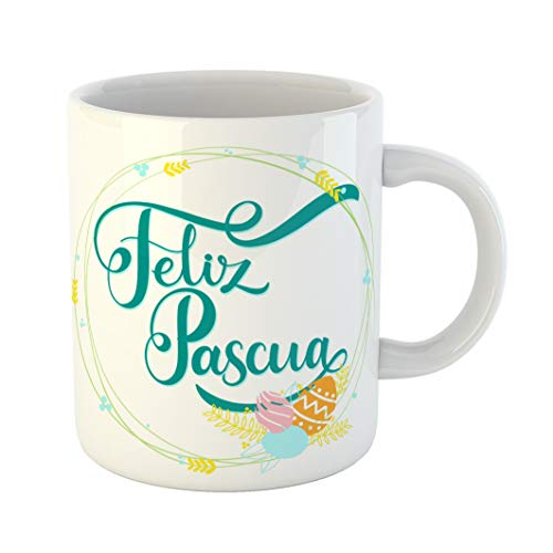 (Emvency 11 Ounces Coffee Mug Green Celebration Feliz Pascua Colorful Lettering Happy Easter in Spanish Phrases Seasons Greetings Egg White Ceramic Glossy Tea Cup With Large)