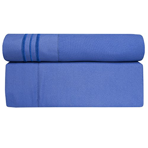 Sweet Home Collection 1800 Thread Count Bed Sheet Set Egyptian Quality Brushed Microfiber 5 Piece Deep Pocket, Split King, Royal Blue by Sweet Home Collection (Image #1)