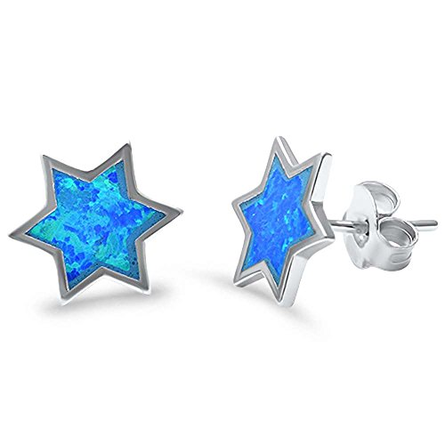 Sterling Silver Cute! Lab Created Blue Opal Star Stud Earrings (Lab Created Blue Opal) (Star Lab Silver Created)