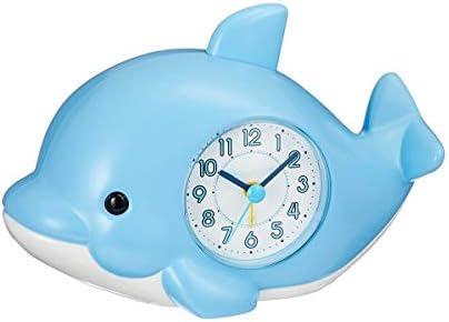 RMXMY 漫画かわいいイルカ音声アラームシンプルな創造的人格ホーム多機能寝室のベッド小さな目覚まし時計