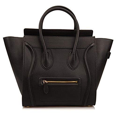 Gershimay Women's Genuine Leather Large Smile Top Handle Handbag Purse Everyday Purse (Large, Black)