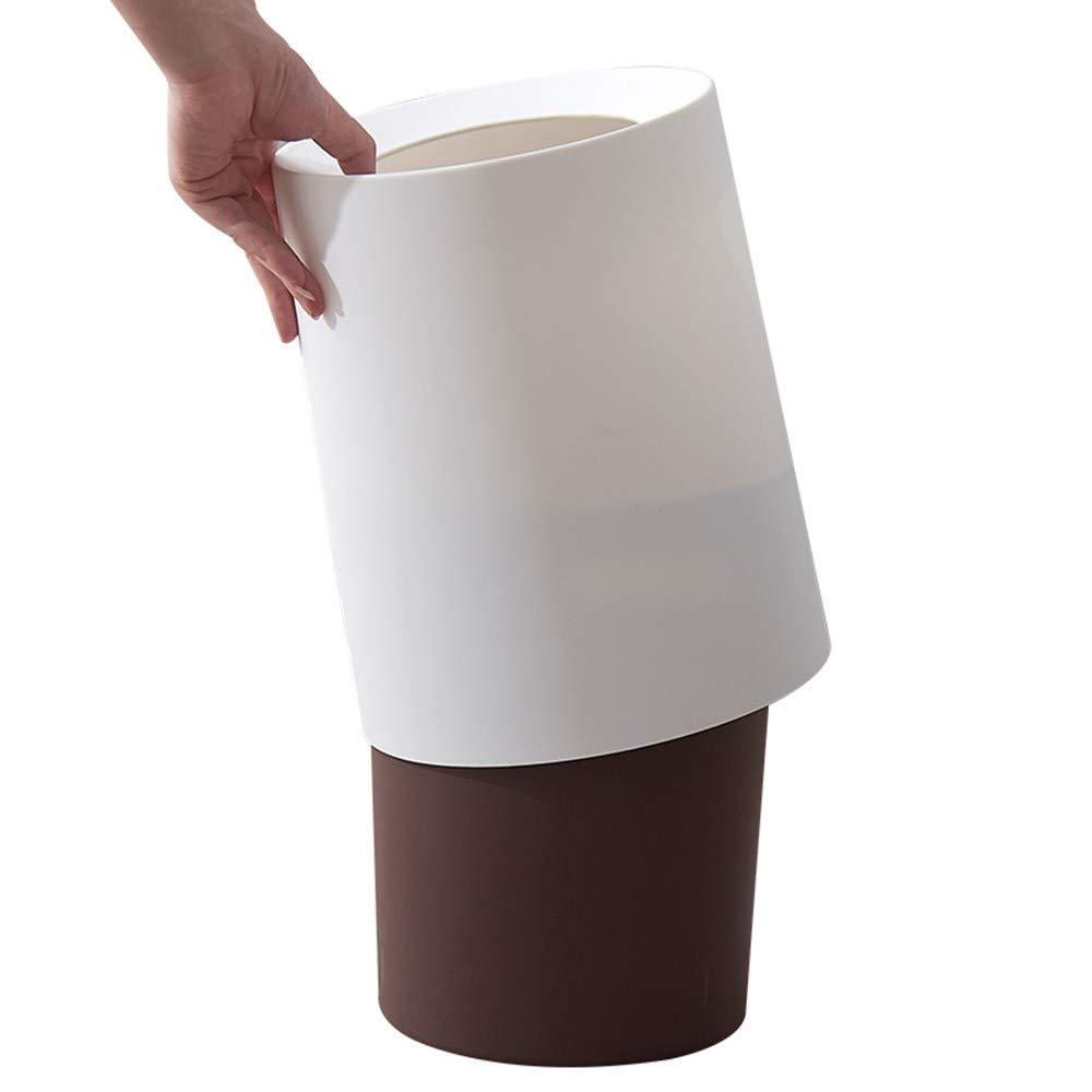 H-M-STUDIO Cubo De Basura Creativo Hogar Sala De Estar Dormitorio Cubo Cocina Sala Circular Doble Tapa Cubo Dormitorio De Basura Trompeta Blanco 91ed1e