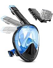 Jerfun Tauchermaske Schnorchelmaske Vollmaske Tauchmaske Vollgesichtsmaske mit Anti-Fog Anti-Leck, Abnehmbare Kamerahalterung und Schnalle für Erwachsene und Kinder