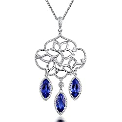 White Yellow Gold Genuine Tanzanite Diamond Pendant