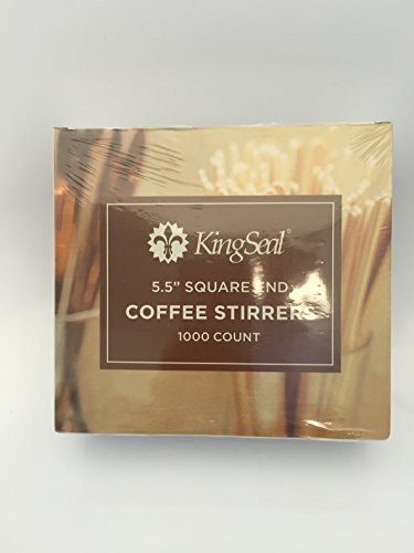 KingSeal 5.5 Inch Square End Wood Coffee Stirrers - 10 Pack/1000 per Pack