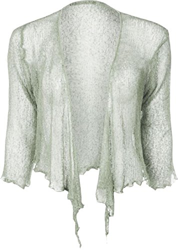 Donne Cima signore Elastico knit Bolero Cardigan up Doppio Le Grigio Tie multa spalle Bali potato di Janisramone Nuovo alzata TwxZtq5t