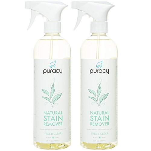 Puracy Natural Laundry Stain Remover [2-Pack], 6-Enzyme Spot and Odor Eliminator, Pretreat Hundreds of Fabrics, Free and Clear, 25 Ounce Spray Bottle [Set of - Poop Removal Stain
