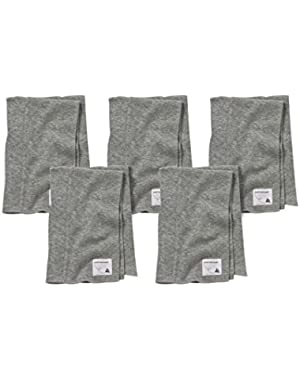 5 Pack of Burp Cloths, 100% Organic Cotton (Heather Grey)