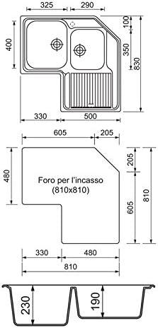 /Évier dangle acier inoxydable satin/é Plados Vintage 8320/deux vasques plus /égouttoir /à vaisselle