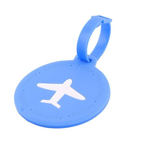 DealMux Silicone Round Shape Airplane Travel Suitcase Label Luggage Tag Name Address Card Holder Blue