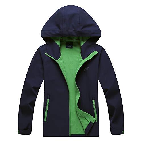 (Jingle Bongala Boys Girls Rain Jacket Waterproof Coat Raincoat Hooded Light Windbreaker for Camping Hiking-Nblue-160)