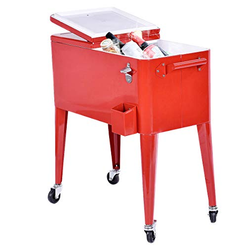 (Giantex 80 Quart Patio Rolling Cooler Cart Ice Beer Beverage Chest Party Portable with Wheels, Red)