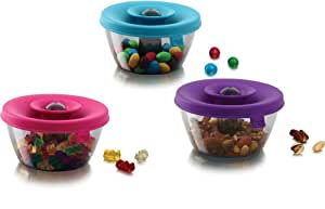 PopSome Nuts, Snacks or Trail Mix Dispensers Set of 3 Food Storage Containers