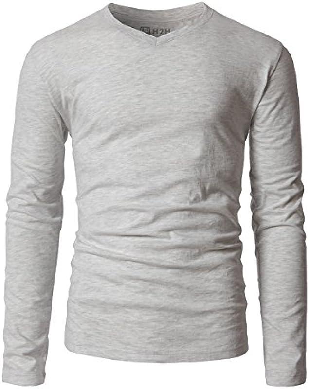 H2H Basic męski t-shirt z dekoltem w serek, długie rękawy: Odzież